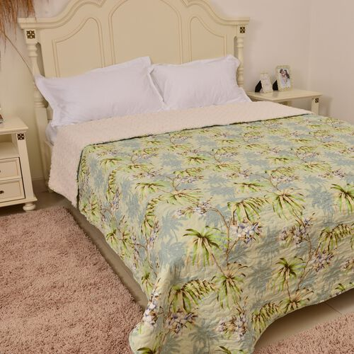 King Size Sherpa Quilt with Green, Cream and Multi Colour Floral and Tree Design (Size 260X240 Cm)