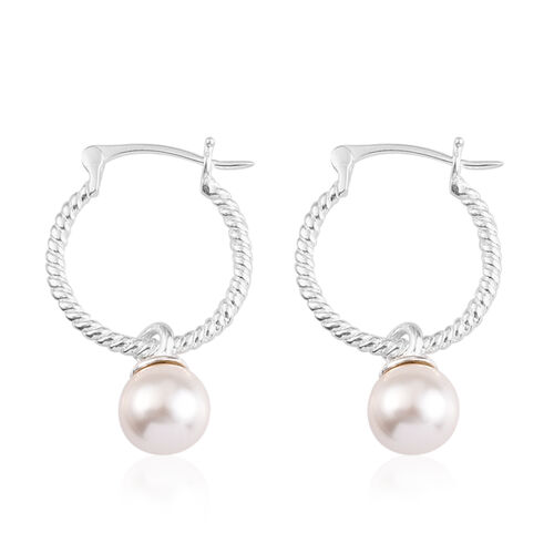 J Francis Crystal From Swarovski White Pearl Crystal Drop Hoop Earrings (with clasp) in Sterling Silver