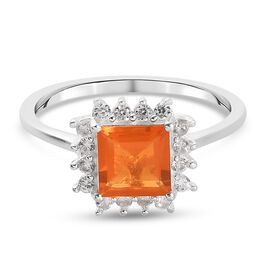 ASSCHER CUT Jalisco Fire Opal and Natural Cambodian Zircon Halo Ring in Sterling Silver