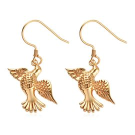 14K Gold Overlay Sterling Silver Flying Bird Earrings