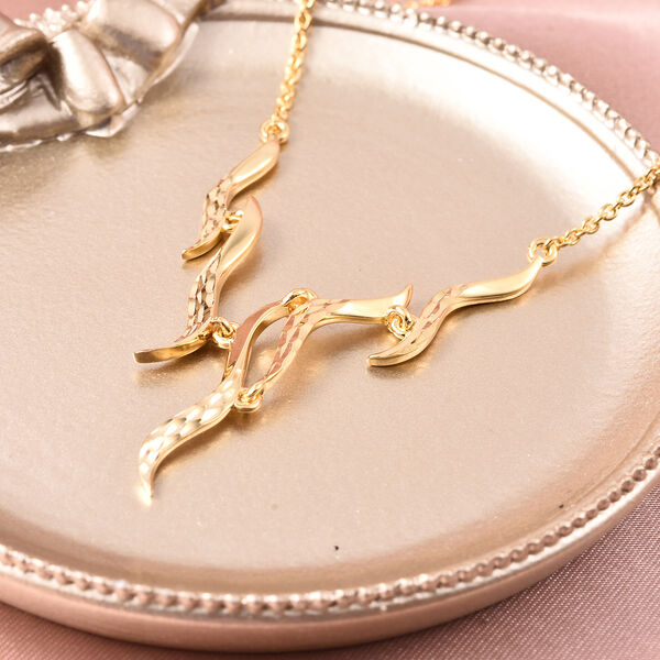 LucyQ Flame Collection - Yellow Gold Overlay Sterling Silver Necklace (Size 20)