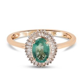 9K Yellow Gold Boyaca Colombian Emerald and Diamond Ring in Rhodium Overlay 1.00 Ct.