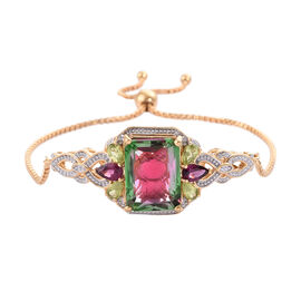 GP Bi-Colour Quartz (Oct 12.40 Ct), Hebei Peridot, Rhodolite Garnet and Blue Sapphire Adjustable Bra