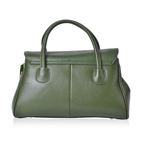 Designer Inspired - 100% Genuine Leather Green Colour Tote Bag with Colourful Removable Shoulder Strap (Size 32X21X13 Cm)