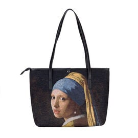 SIGNARE - Tapestry Collection - Girl With Pearl Earring Shoulder Tote Bag ( 33 x 27 x 15 x Cms )