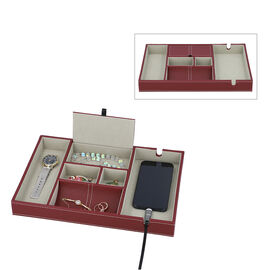 Mens 6 Section Portable Jewellery Organiser (Size 35x24x4Cm) - Wine Red