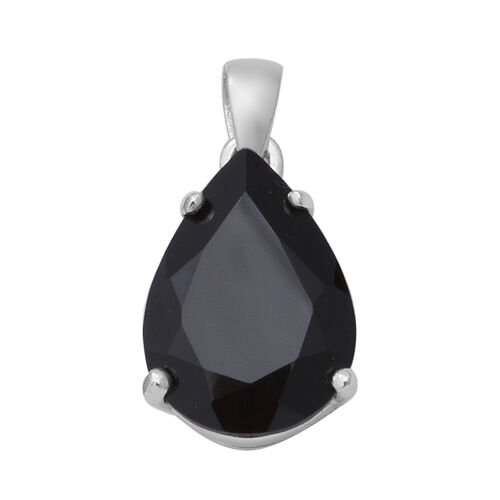 6 Carat Boi Ploi Black Spinel Pear Solitaire Teardrop Pendant in Silver