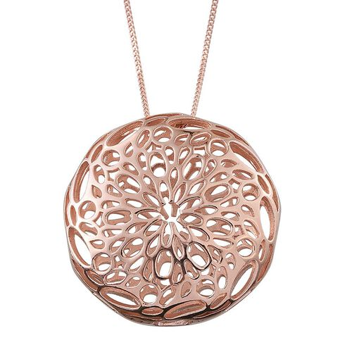 Designer Inspired Rose Gold Overlay Sterling Silver Pendant With Chain, Silver wt 7.52 Gms.