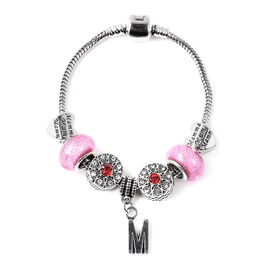M Initial Charm Bracelet for Children in Simulated Pink Colour Bead, Red and White Austrian Crystal