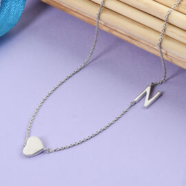 Personalise Single Alphabet + Heart, Name Necklace in Silver, Size 18+2 Inch