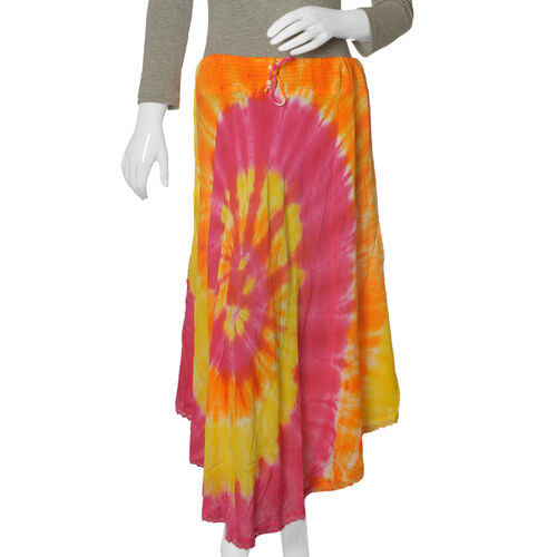 Orange and Multi Colour Hand Dye skirt (Free Size)
