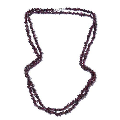 Rhodolite Garnet  Necklace (Size 52) with Lobster Lock in Platinum Overlay Sterling Silver 256.880 Ct.