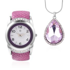 2 Piece Set - STRADA Japanese Movement Water Resistant Bangle Watch (6-7) with Simulated Kunzite and