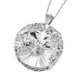 J Francis - Crystal from Swarovski White Crystal (Rnd 38 mm) Pendant With Chain (Size 30) in Platinum Overlay Sterling Silver, Silver wt 15.74 Gms.