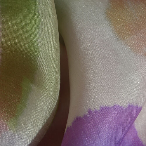 100% Mulberry Silk Purple, Green and Multi Colour Handscreen Printed Scarf (Size 180x100 Cm)