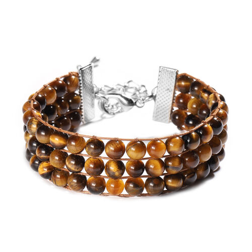 Yellow Tiger Eye Beaded Bracelet (Size 7 with 2 inch Extender) in Silver Tone 133.00 Ct.