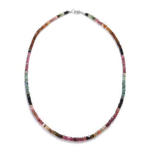 One Time Deal- Rainbow Tourmaline (Rnd) Beads Necklace (Size 18) in Rhodium Overlay Sterling Silver
