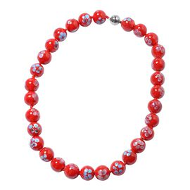 Millefiori Collection- Red Colour Murano Style  Glass Beads Necklace (Size 20) with Magnetic Lock