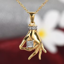 Diamond Mudra Hand Pendant With Chain (Size 20) in Yellow Gold and Platinum Overlay Sterling Silver