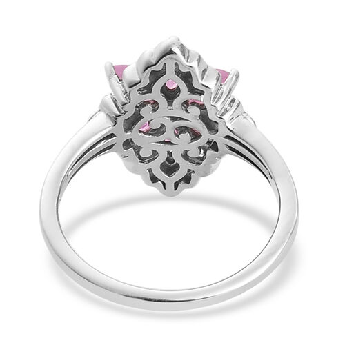 Pink Sapphire and Natural Cambodian Zircon Ring in Platinum Overlay Sterling Silver 1.75 Ct.