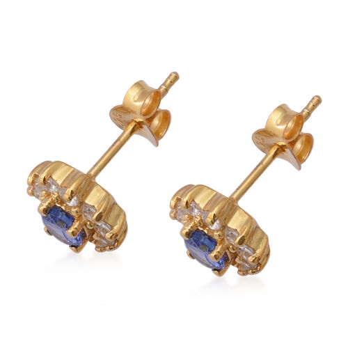 AAA Tanzanite and Natural Cambodian Zircon Stud Earrings (with Push Back) in Yellow Gold Overlay Sterling Silver 1.40 Ct.