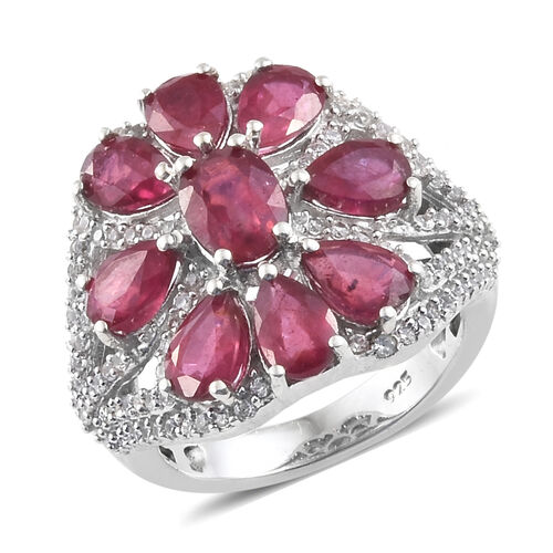 7 Carat African Ruby and Zircon Floral Ring in Platinum Pkated Silver 5.74 Grams