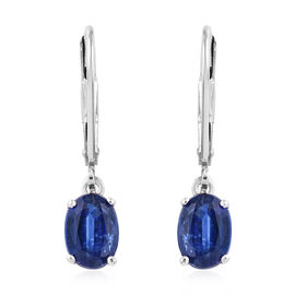 AAA Kashmir Blue Kyanite (Ovl) Lever Back Earrings (with Clasp Lock) in Platinum Overlay Sterling Si