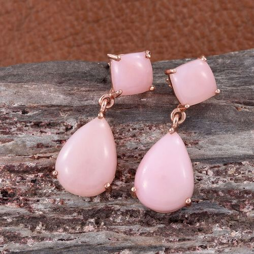 Natural Peruvian Pink Opal (Pear) Earrings (with Push Back) in Rose Gold Overlay Sterling Silver 11.750 Ct.