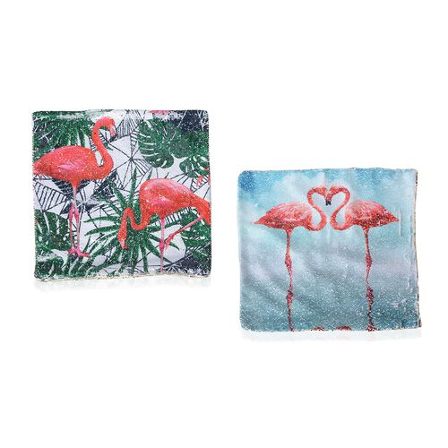 Set of 2 - Sequin Embellished Flamingo Printed Cushion Cover (Size 40x40 Cm)