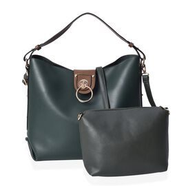 2 Piece Set - Dark Green Satchel Bag (Size 40x34x13 Cm) and Crossbody Bag (26x18x6 Cm) with Detachab