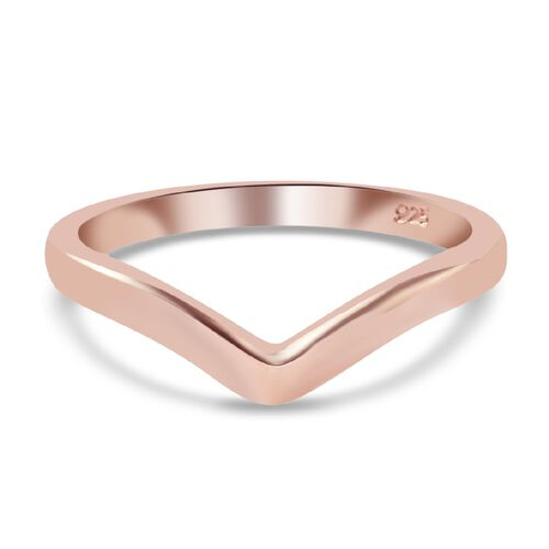 Wishbone V Shape Stacker Ring in Rose Gold Plated Sterling Silver