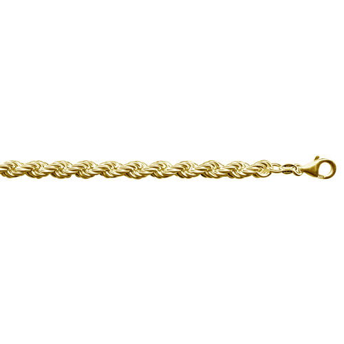 Vicenza Collection 14K Gold Overlay Sterling Silver Rope Chain (Size 18 with 2 inch Extender), Silver wt 33.00 Gms.
