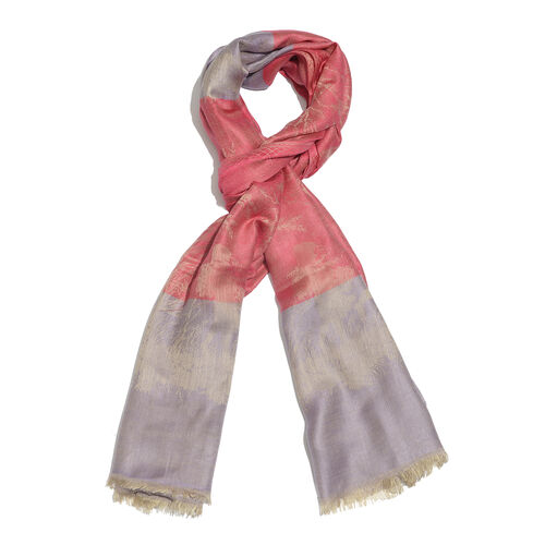 Red, Golden and Light Purple Colour Tree and Children Pattern Jacquard Scarf (Size 190x70 Cm)
