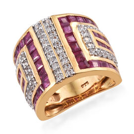 African Ruby (Sqr), Natural Cambodian Zircon Ring in 14K Gold Overlay Sterling Silver 6.000 Ct, Silv