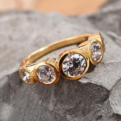 J Francis 14K Gold Overlay Sterling Silver (Rnd) Ring Made with SWAROVSKI ZIRCONIA