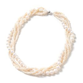 Freshwater White Pearl Multi Stand Necklace in Rhodium Plated Sterling Silver 18 Inch
