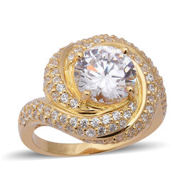ELANZA Swiss Star Simulated Diamond Swirl Halo Ring in Gold Plated Plated Silver 7.93 Grams