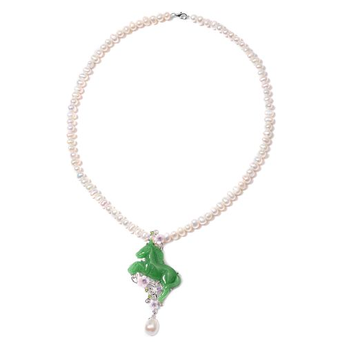 Green Jade and Multi Gemstone Horse Shaped Beaded Necklace in Rhodium Plated Silver 18 Inch