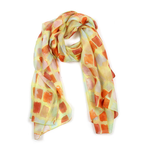 100% Mulberry Silk Yellow, Orange and Multi Colour Abstract Pattern Scarf (Size 180x100 Cm)