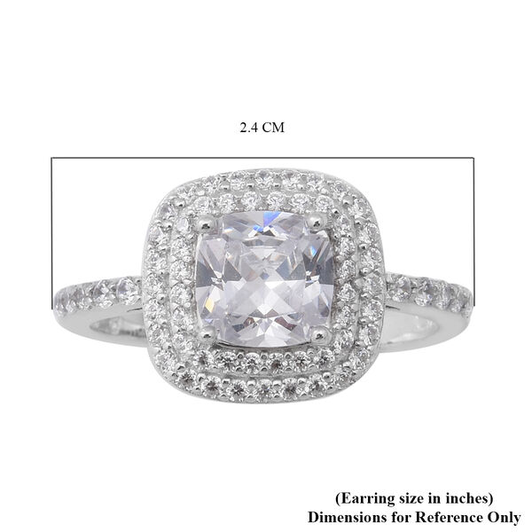 ELANZA AAA Simulated Diamond Ring in Rhodium Overlay Sterling Silver