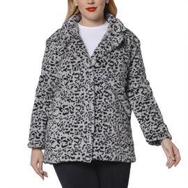 Leopard Pattern Faux Fur Coat Grey