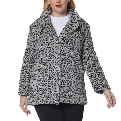 Leopard Pattern Faux Fur Coat (Size S; 51x73 Cm) - Grey
