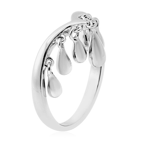 LucyQ - Drip Collection- Rhodium Overlay Sterling Silver Chevron Ring
