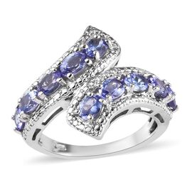 Tanzanite (Ovl) Bypass Ring in Platinum Overlay Sterling Silver 1.65 Ct.