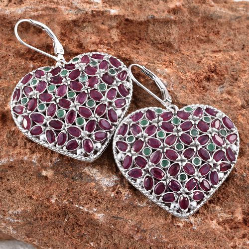 African Ruby (Mrq), Kagem Zambian Emerald Heart Lever Back Earrings in Platinum Overlay Sterling Silver 12.000 Ct. Silver wt 10.98 Gms. Number of Gemstone 120