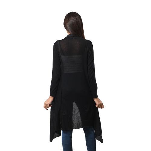 Marigold Lotus: 100% Cotton Knit Long Sleeve Waterfall Cardigan in Black - XS (UK Size 8)