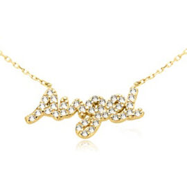 Cubic Zirconia Angel Necklace in Gold Plated Silver 16 with 2 inch Extender
