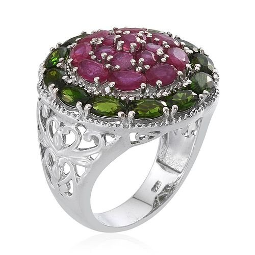 African Ruby (Rnd), Russian Diopside Floral Ring in Platinum Overlay Sterling Silver 6.250 Ct.