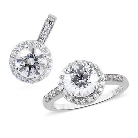 2 Piece Set - J Francis Platinum Overlay Sterling Silver Pendant and Ring Made with SWAROVSKI ZIRCONIA 6.36 Ct.