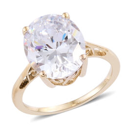 J Francis - 9K Yellow Gold (Ovl 12x10 mm) Solitaire Ring Made with SWAROVSKI ZIRCONIA